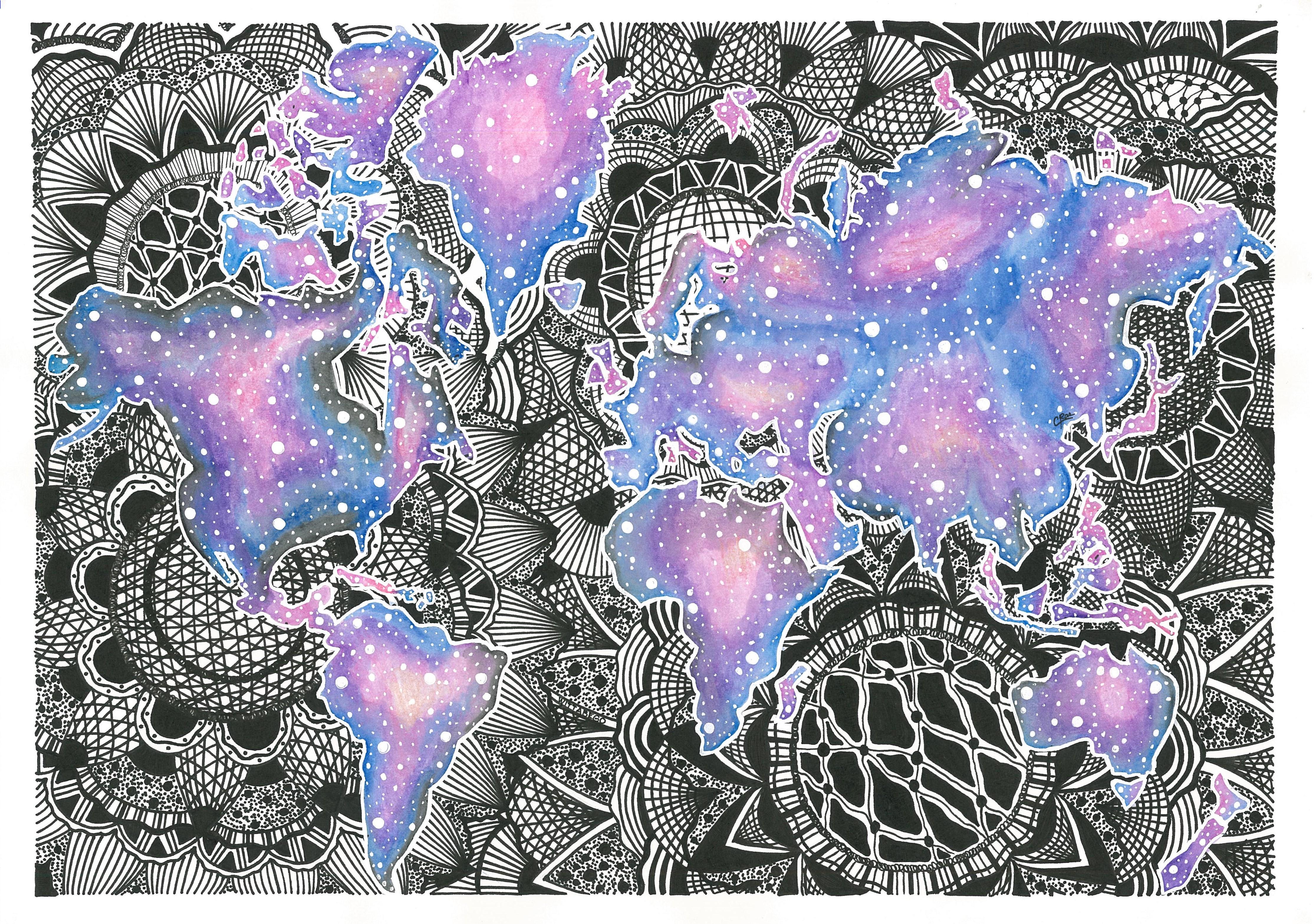 World Map Mandala and Galaxy