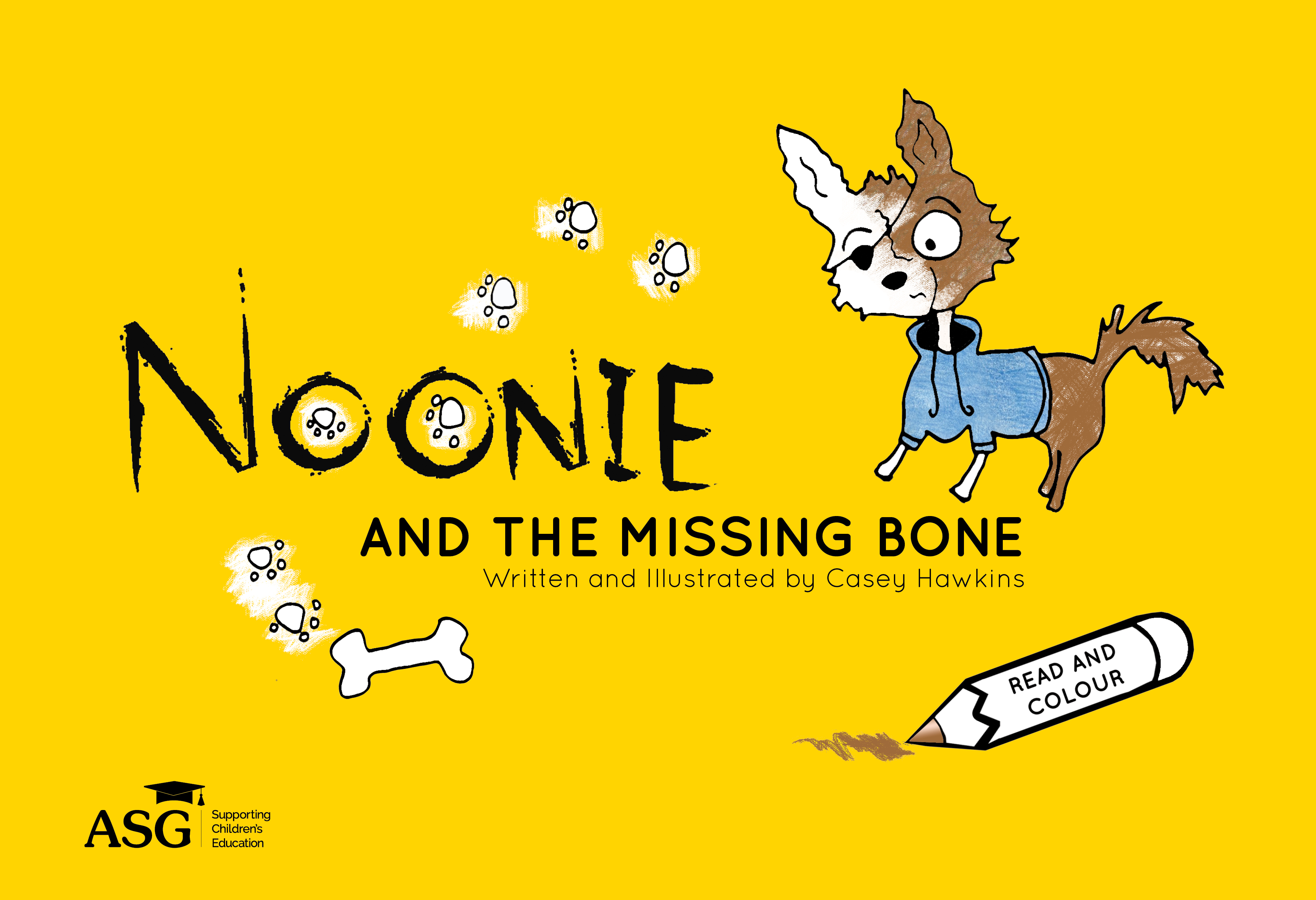 """Noonie and the Missing Bone"" by Casey Hawkins- Children's Book and colour in"