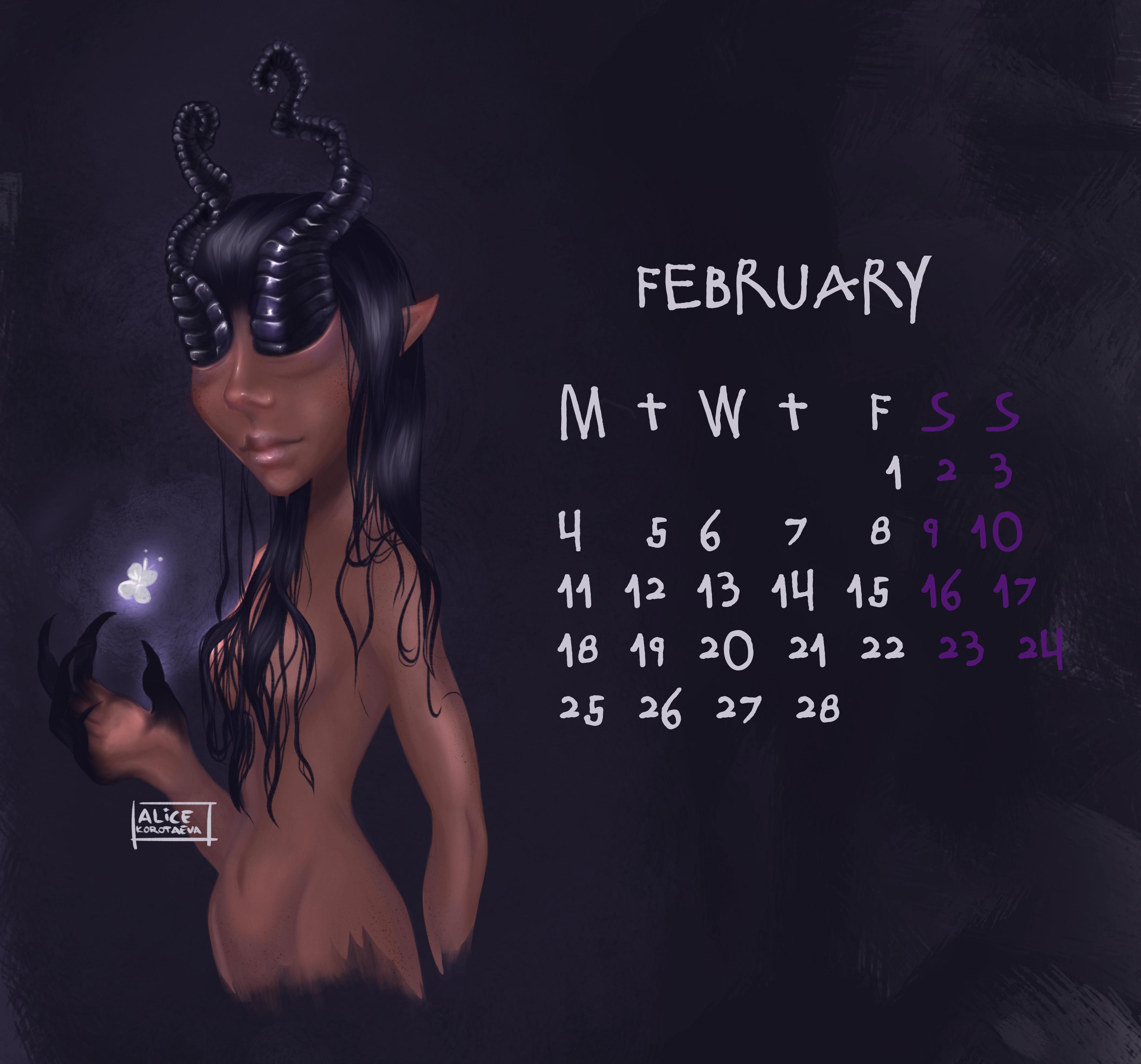 February calendar girl