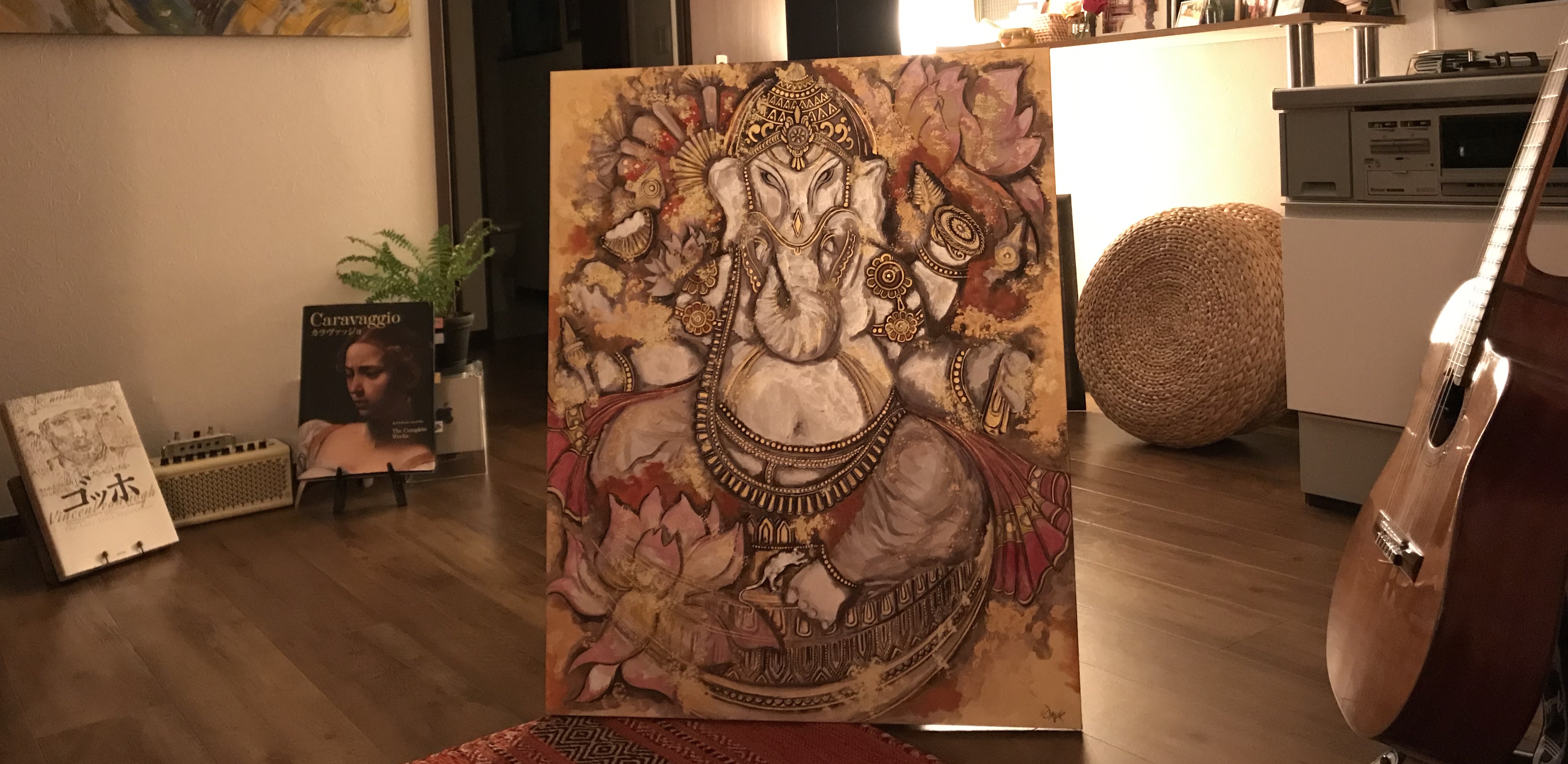GANESHA (Art For Hope Project), Sumi & Mixed Media, Washi On Board, 90 x 73 (F30)