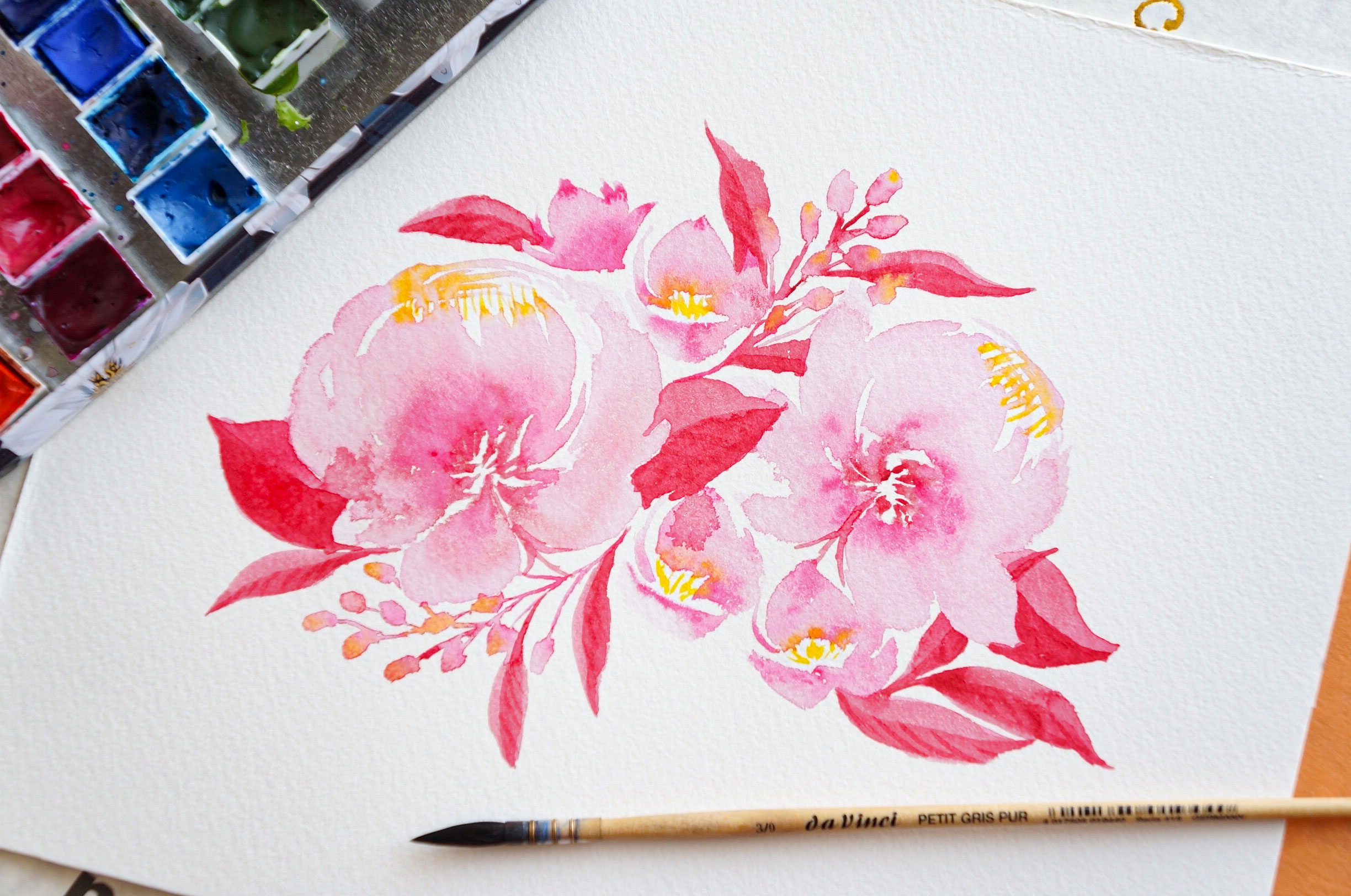 Watercolor Painting Red Peony Bouquet 2