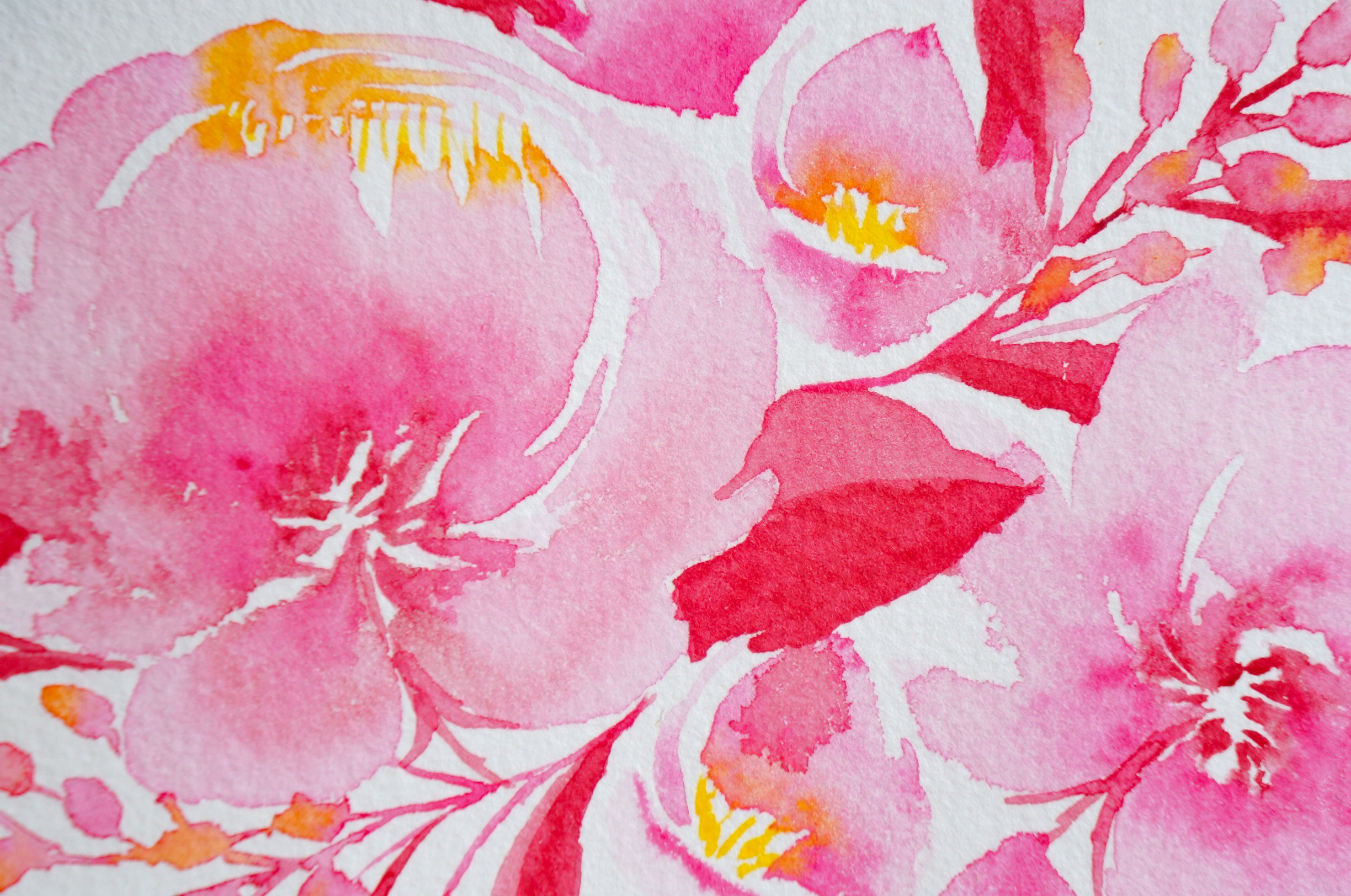 Watercolor Painting Red Peony Bouquet 3