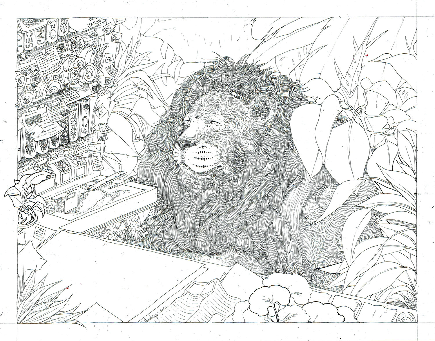 Lion in his Study