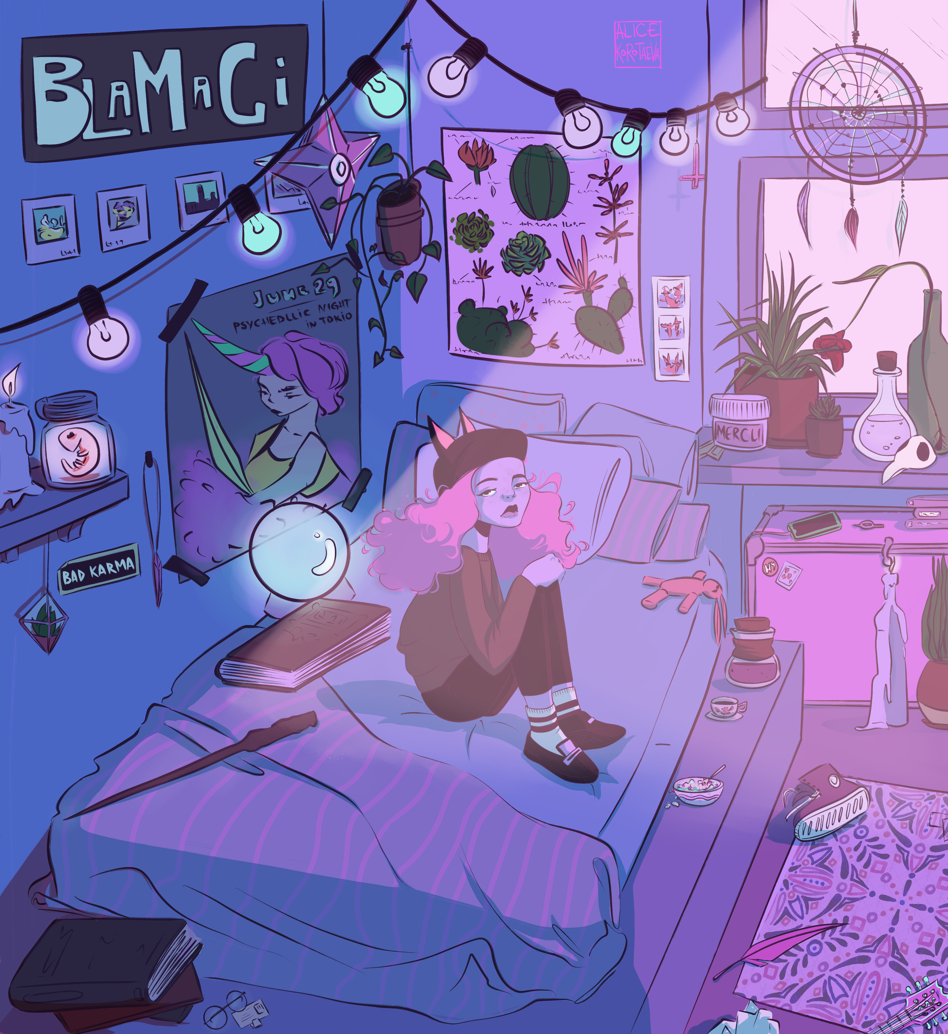 Modern witch in her room
