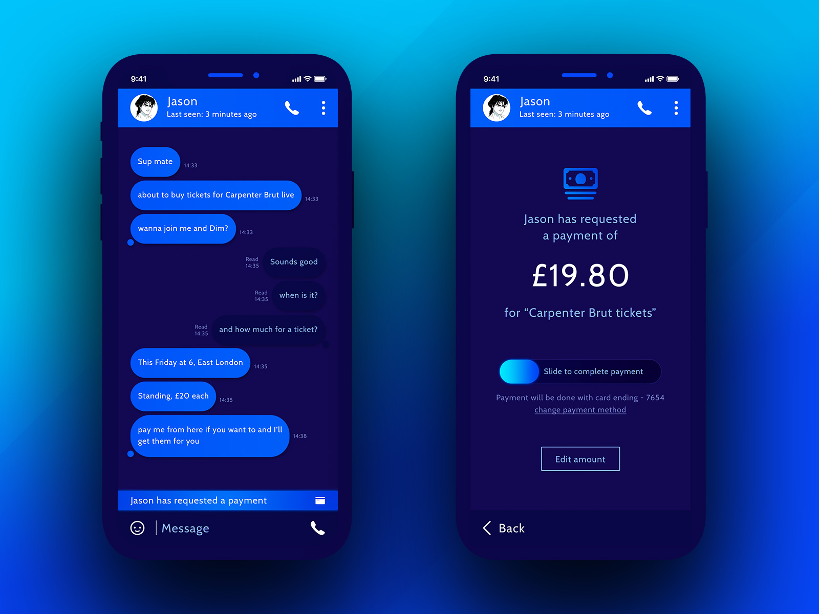 Messaging & Pay a contact app