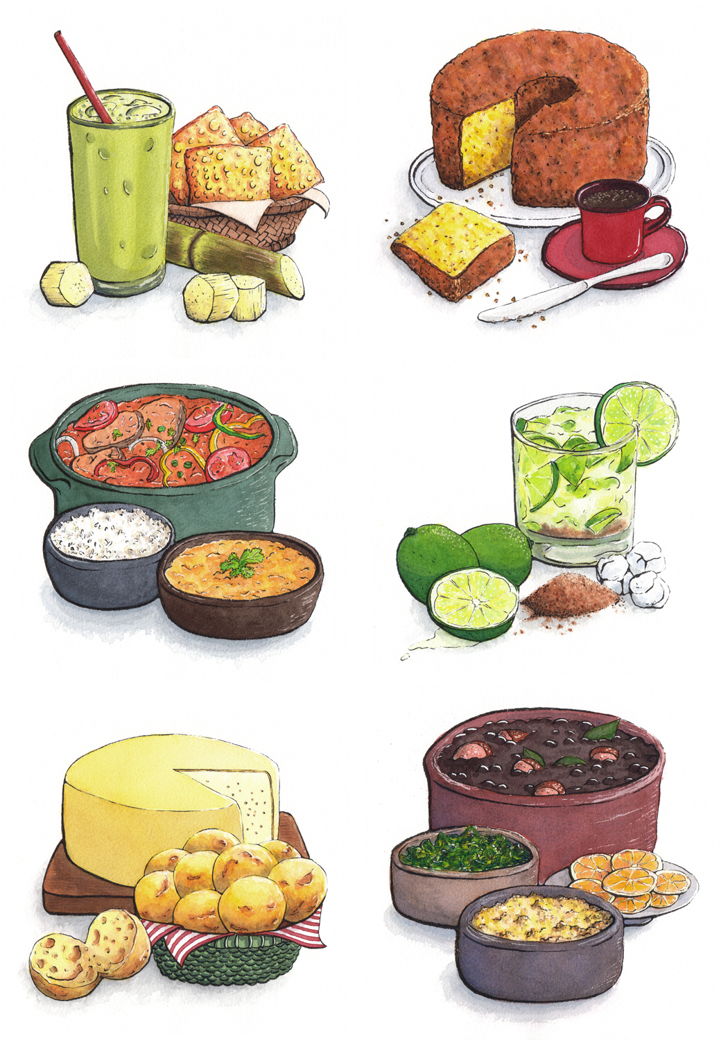 Brazilian Food Illustrations