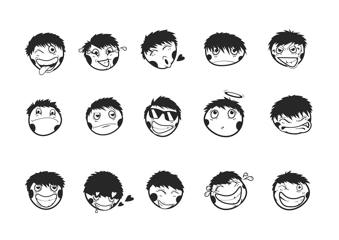 Emoticons for the new visual identity Wiko BTL - Illustrator