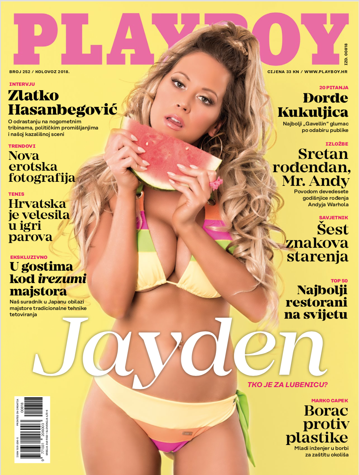 Playboy Magazine, August 2018. Croatian Edition