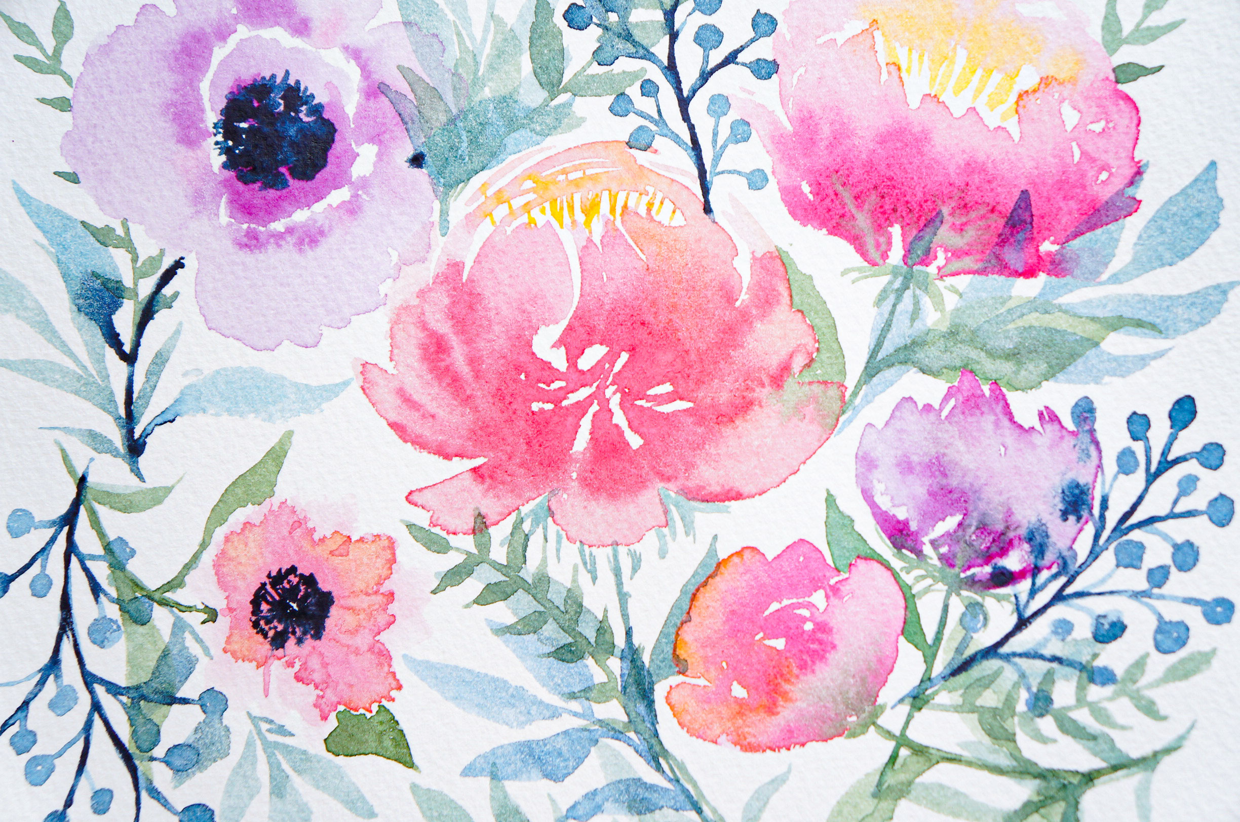 Loose Watercolor Peony & Poppy Flowers