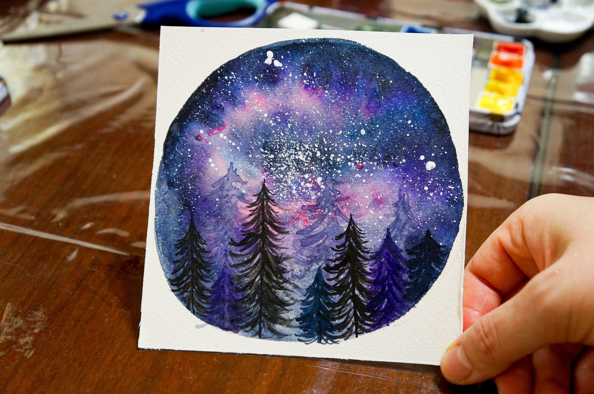 Watercolor Painting Stary Sky