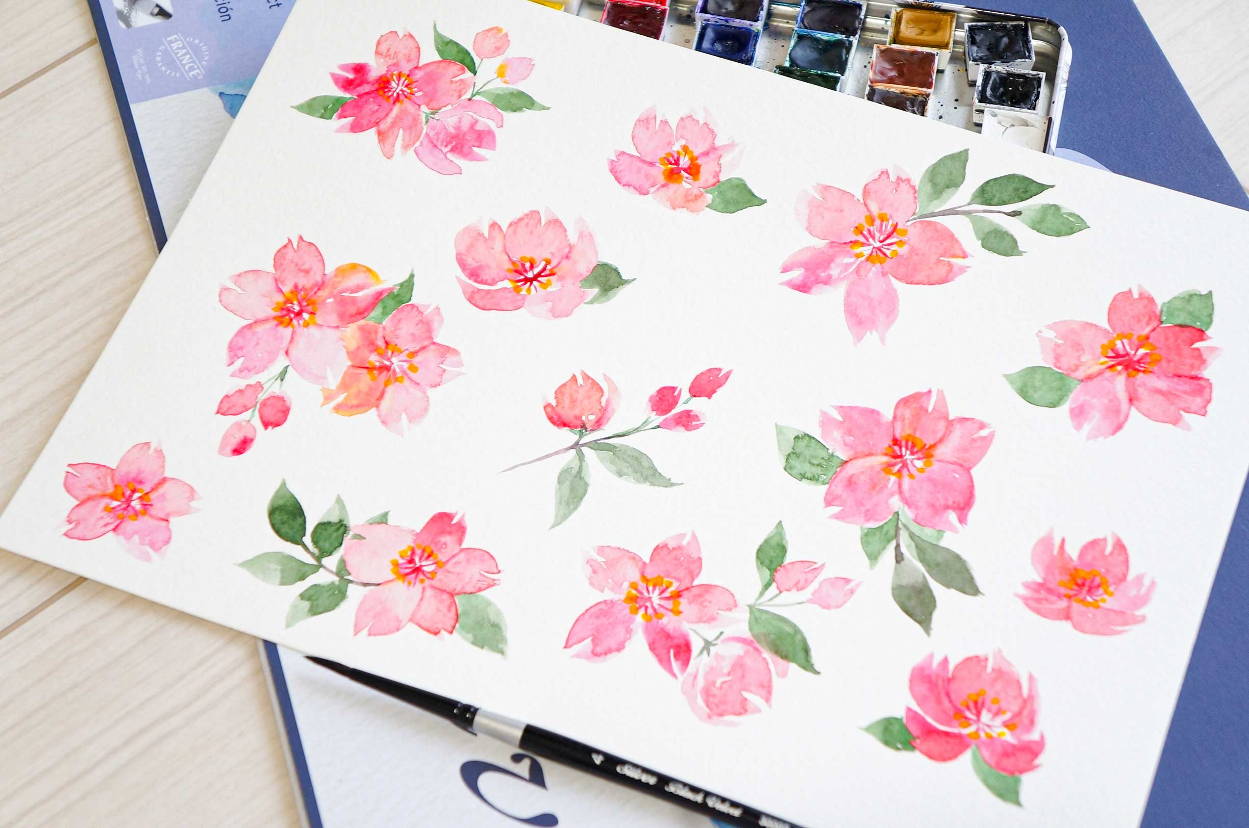 Watercolor Sakura Wall Stickers