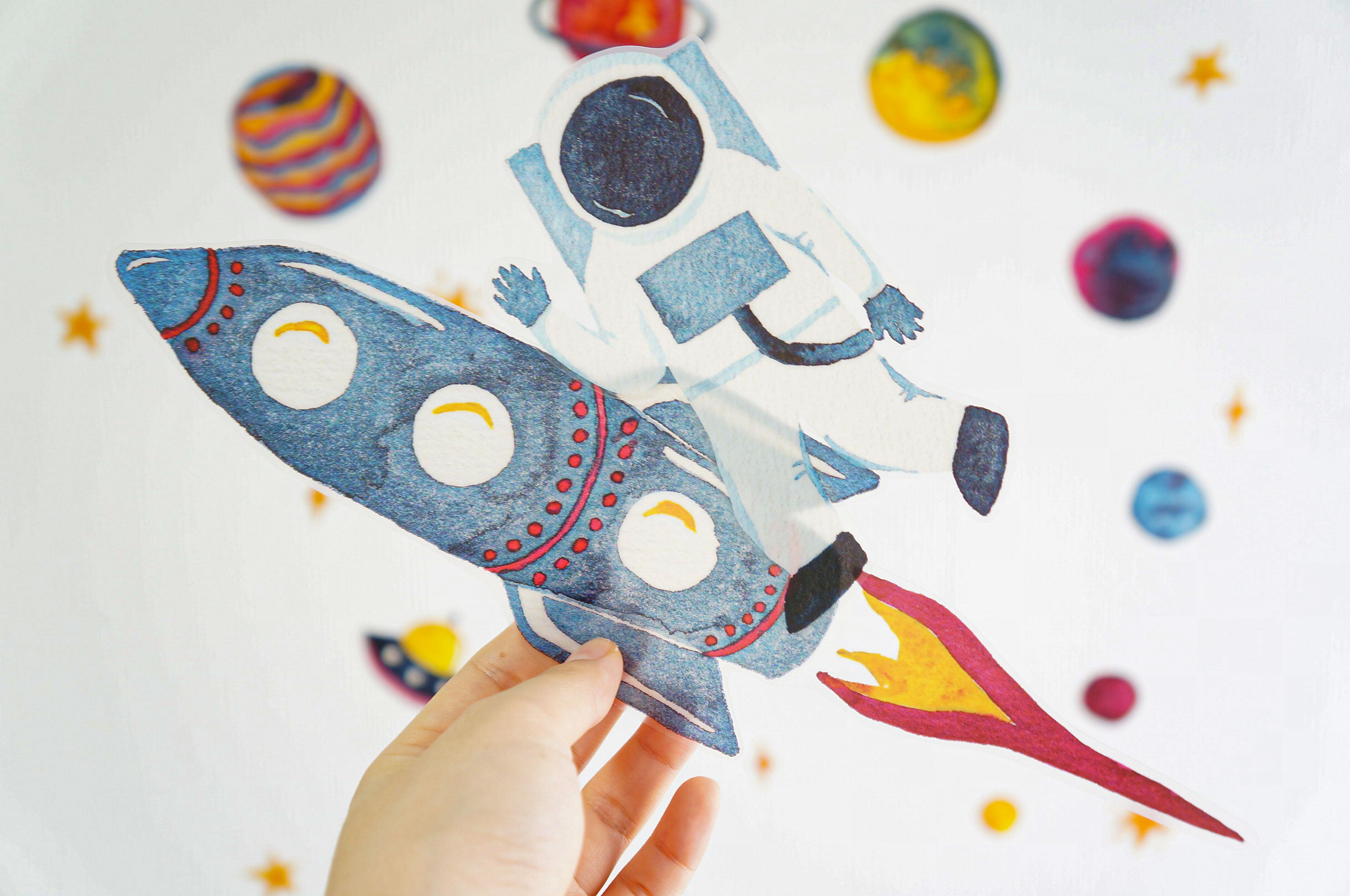 Waterproof Watercolor Wall Deco Stickers (Space)