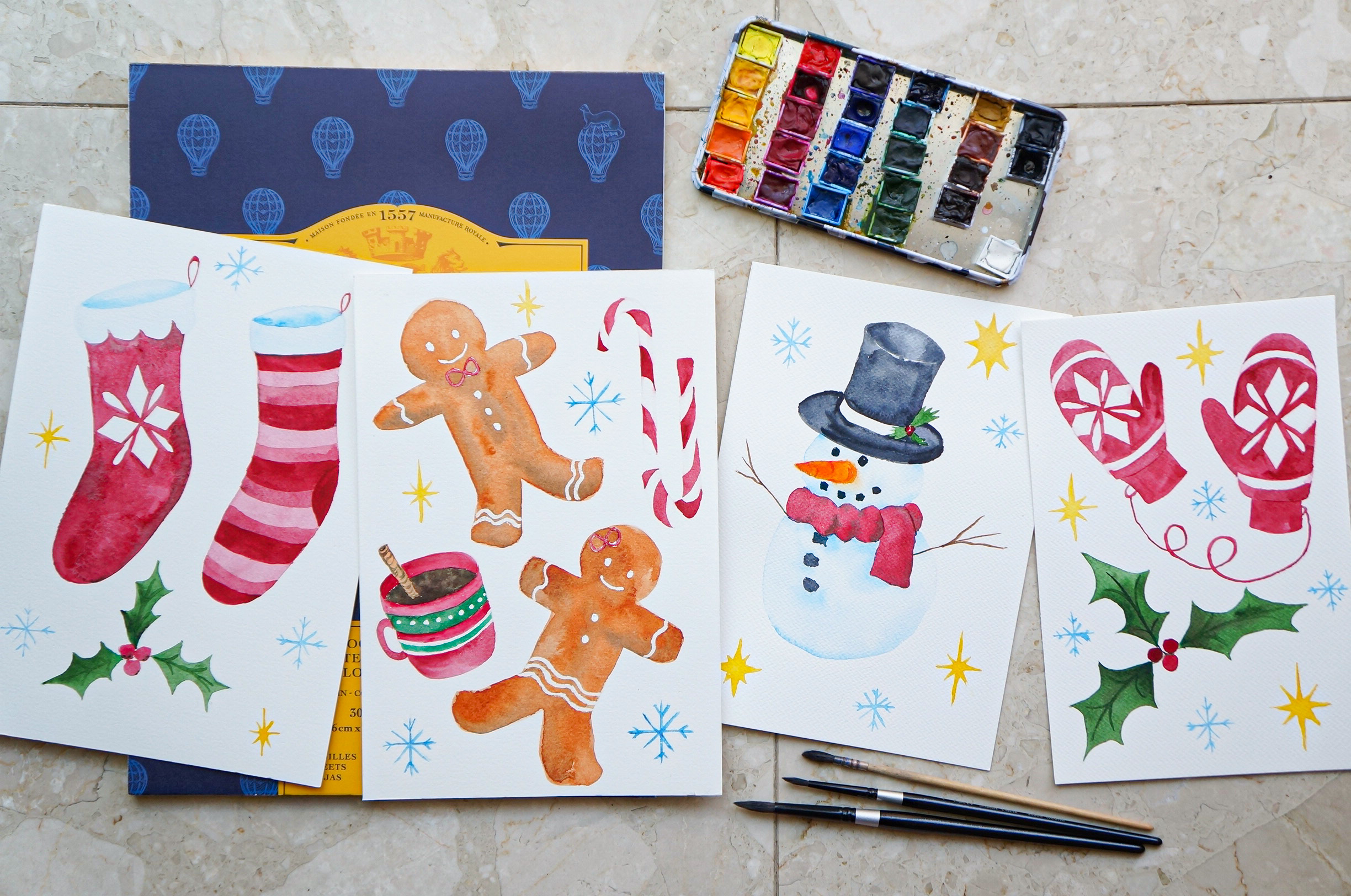 Watercolor Christmas Wall Decor Stickers