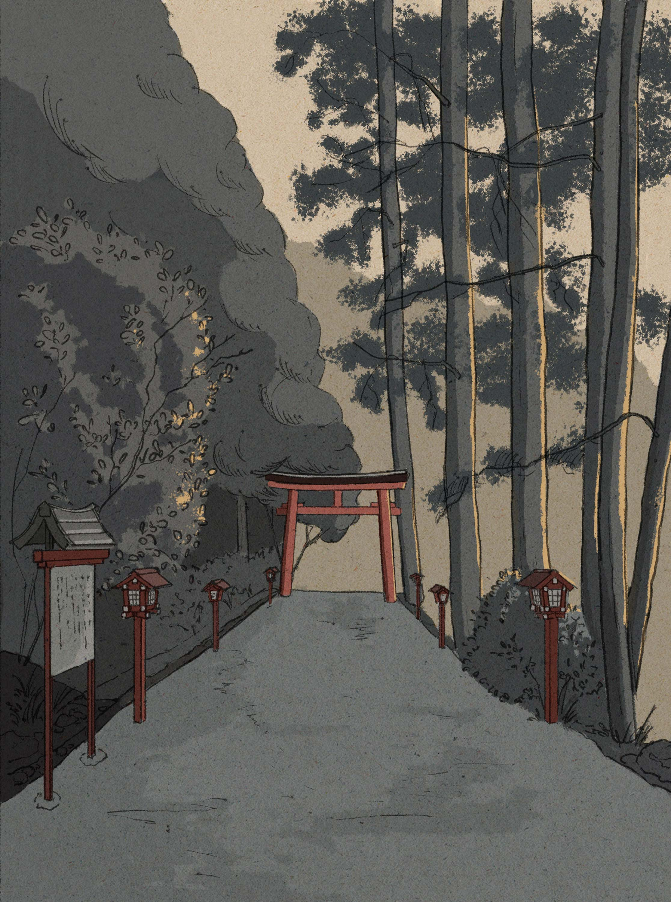 Shinto shrines in the afternoon light. Illustration series